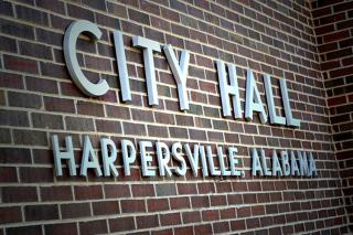 Harpersville city hall sign